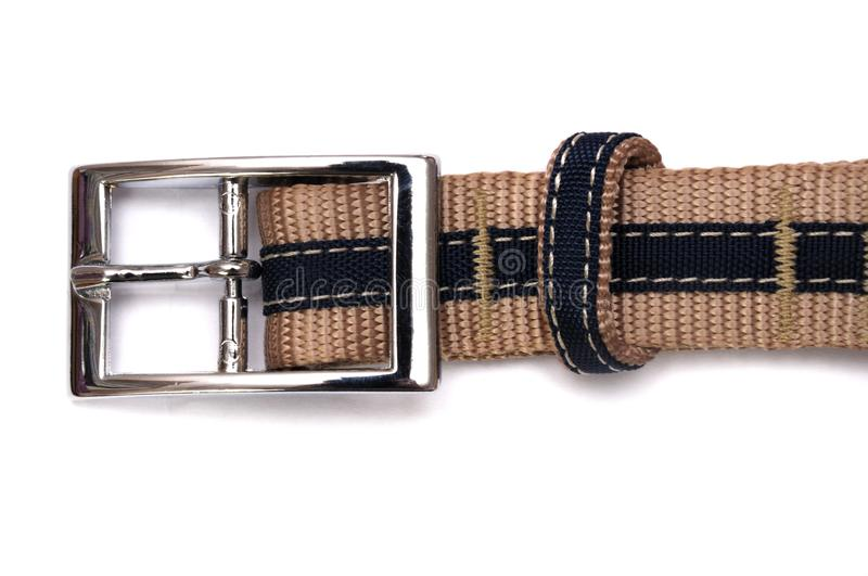 A top view of the buckle of a blue belt royalty free stock photo