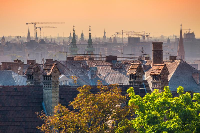 Top view of Budapest houses in sunrise, Hungary. Europe stock photography