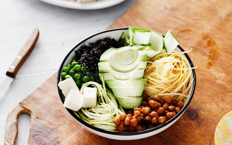 Top view buddha bowl white table Clean balanced healthy food stock photos