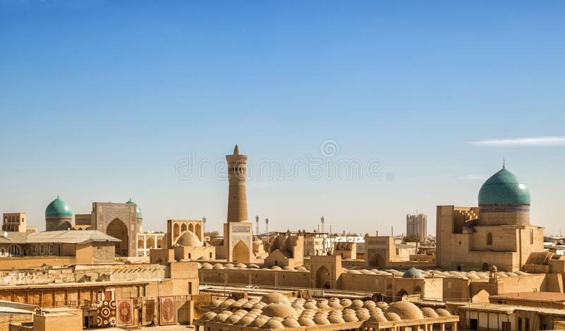 Top view Bukhara. Top view from the Ark fortress to the Po-i-Kalyan complex, Bukhara, Uzbekistan royalty free stock image