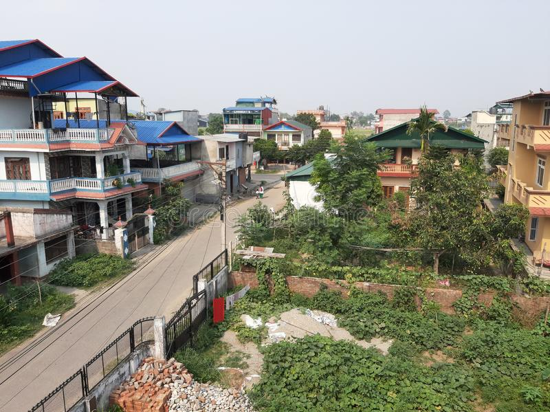 Top view from the top of bulding. Nepal and the roads of nepal royalty free stock photography