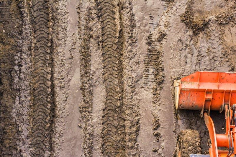 Top view of a bulldozer bucket stock image