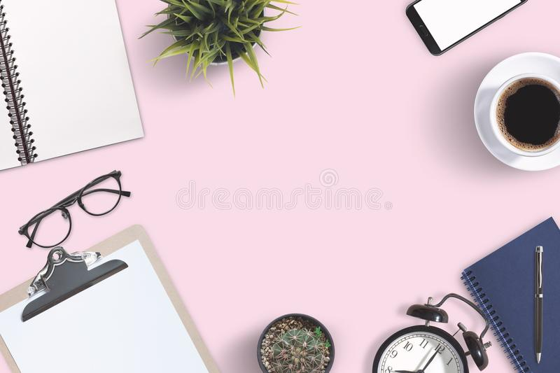 Top view business office supplies. Laptop with notebook and smart phone on white table. Business concept. Home office workspace. Top view business office stock photography