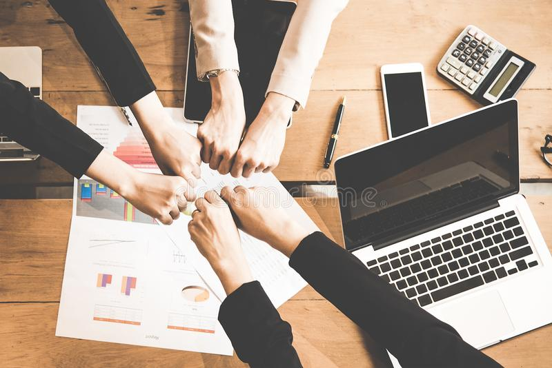 Top View. Business people and Teamwork Togetherness Community Connection. And join hands in the meeting room. Business and Teamwork Concept stock photography
