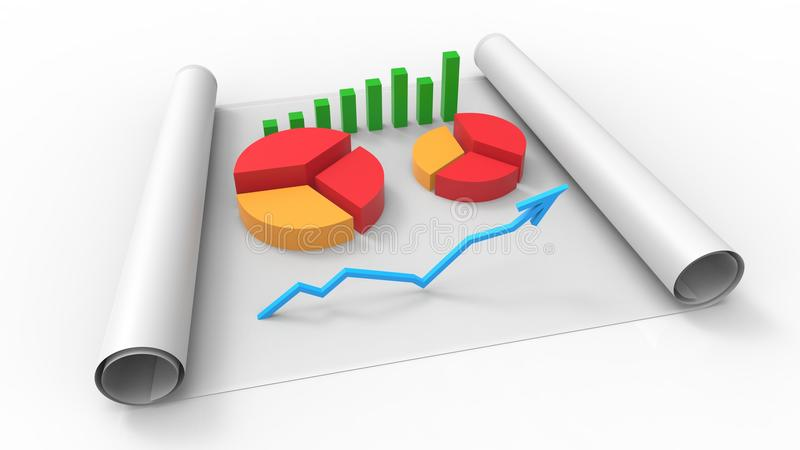Top view of business report, on paper. 3D Render. Top view of business report, on paper royalty free illustration