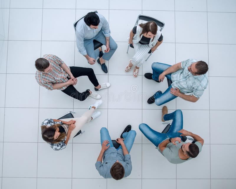 Top view.business team briefing royalty free stock image