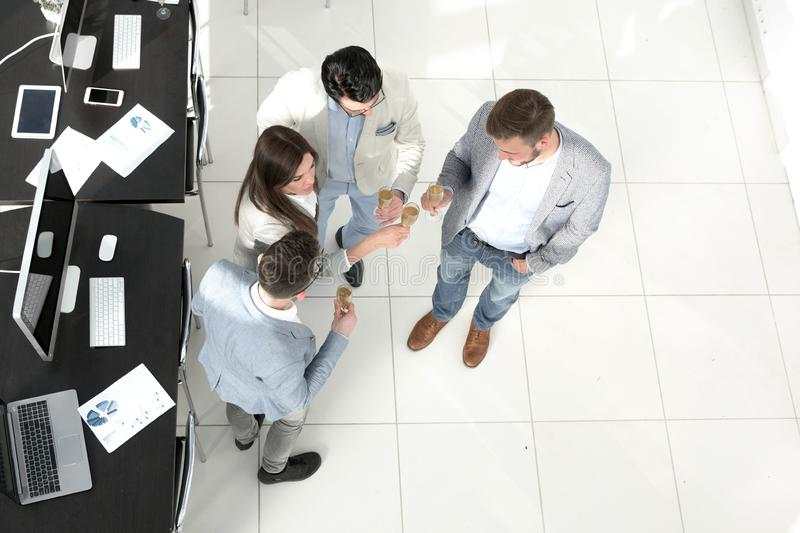 Top view.the business team celebrates a successful startup royalty free stock images