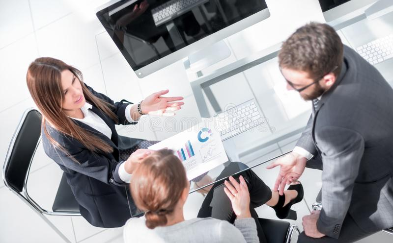 Top view.business team discussing new financial project. Teamwork royalty free stock images