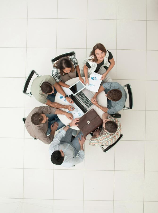 Top view.business team discussing new financial project royalty free stock image
