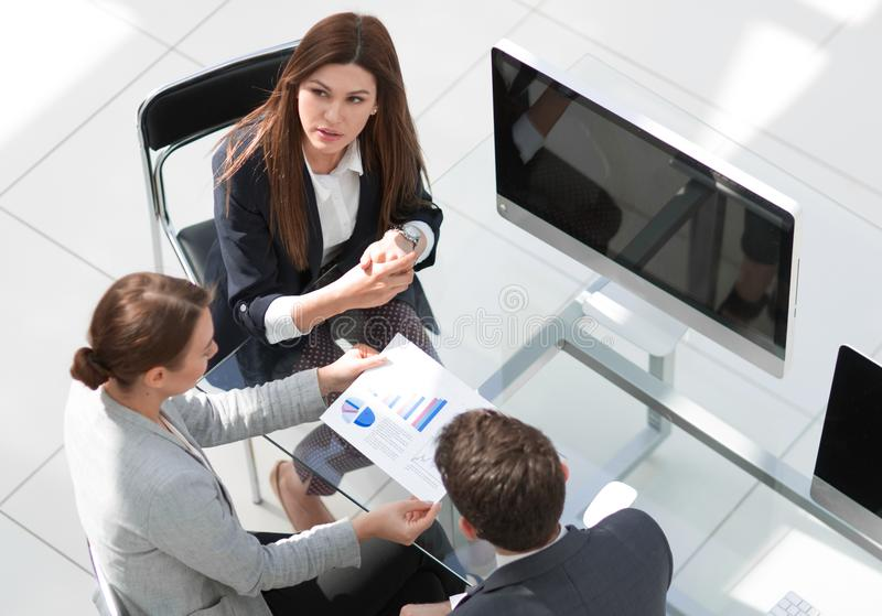 Top view.business team at an informal meeting stock photo