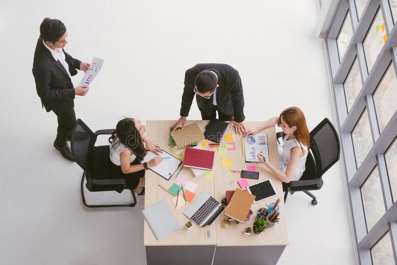 Top view of business team people meeting conference discussion corporate in office. stock images