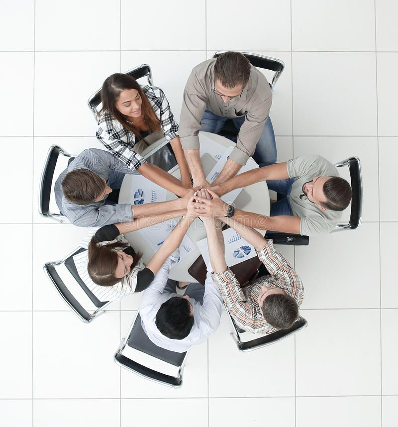 Top view.business team starting a new commercial project royalty free stock photos