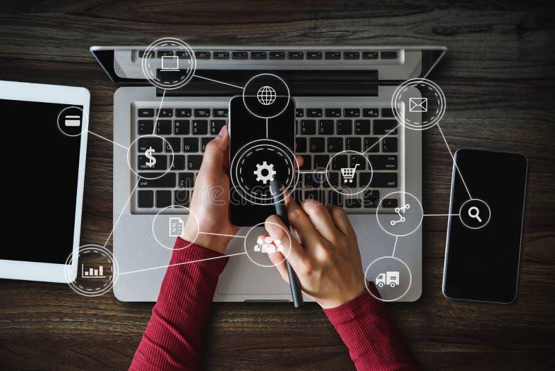 Social media and Marketing virtual icons stock photos