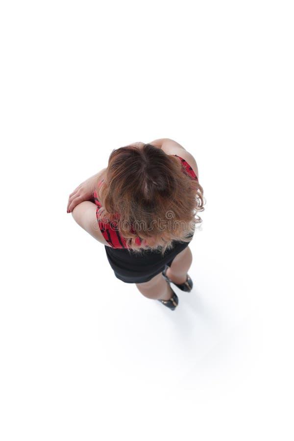 Slender women studio shot, isolated on white background royalty free stock image
