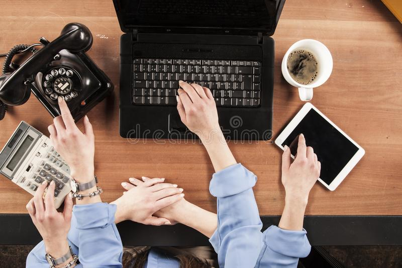 top view, business woman with a lot of hands works hard, multitasking person stock photos