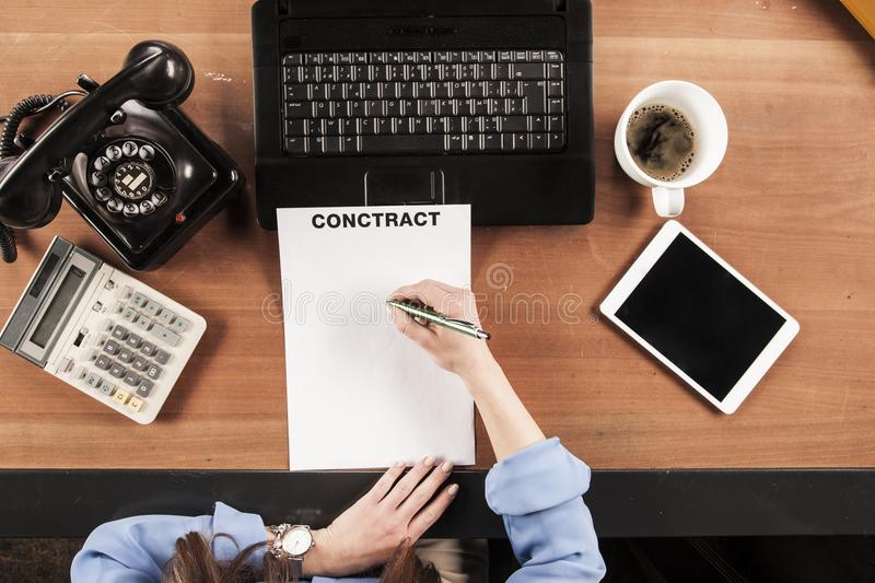 Top view, business woman signs a contract stock image