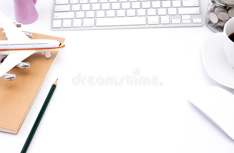 Business work place on white table royalty free stock photography