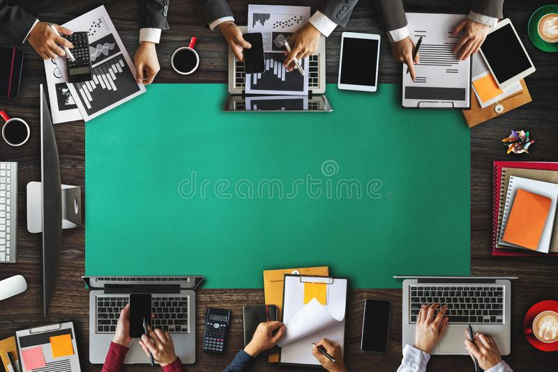 People corporate business team concepts Top view Digital marketing media smartphone software. Top view of businessman Group of Multiethnic Busy People meeting royalty free stock images