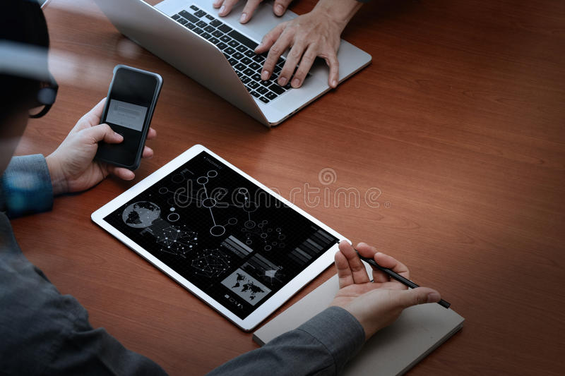 Top view of businessman hands using digital pro tablet royalty free stock images