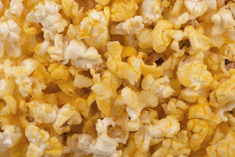 Top view on buttered popcorn texture as background. stock image