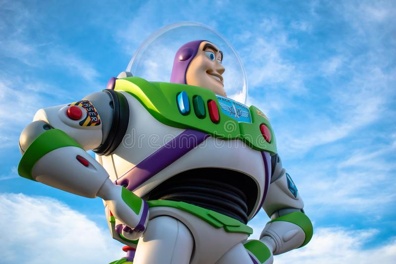 Top view of Buzz Light Yerar on sunset background at Hollywood Studios 99. stock photography