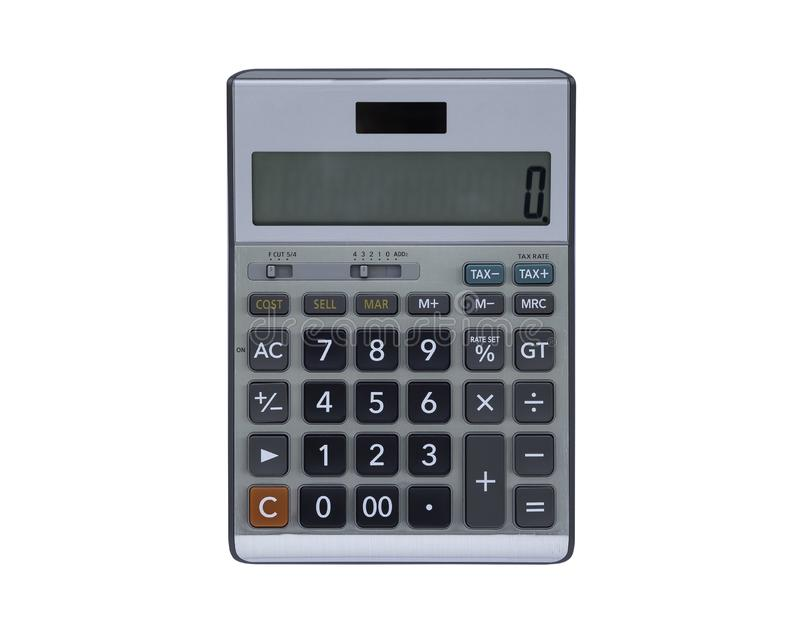 Top view, Calculator isolated on a white background. stock photography