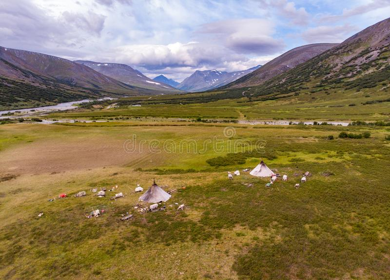 Top view of the camp of nomadic reindeer herders, Yama. L, Russia stock images