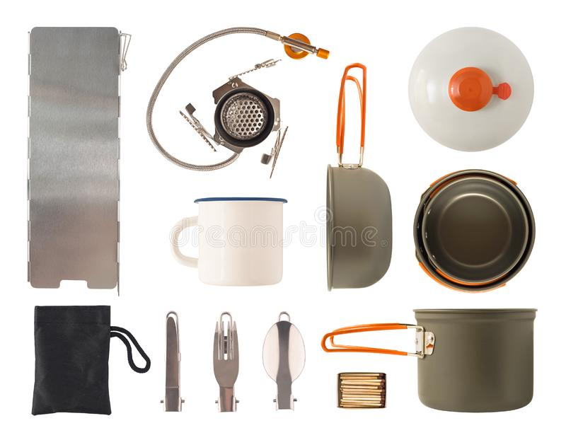 Top view of camping cooking pots, cutlery and gas equipment royalty free stock images