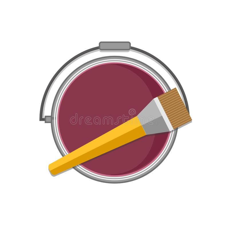 Top view of can with paint and brush. royalty free stock images