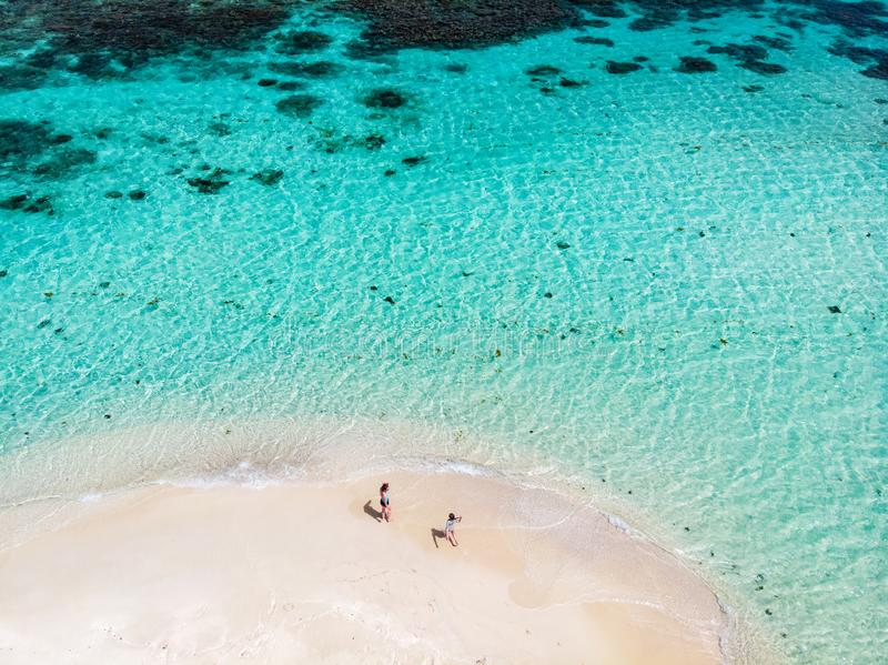 Top view of Caribbean island stock images