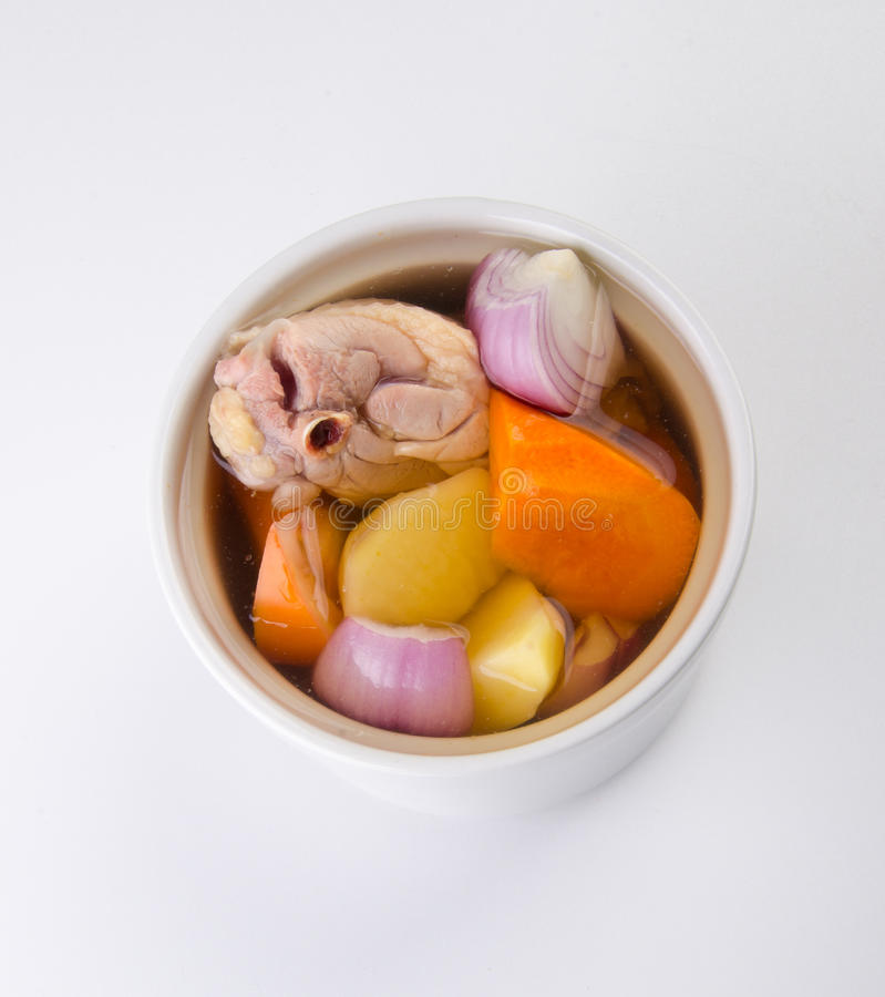 Top view carrot, potato, onion soup with chicken royalty free stock image