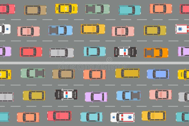 Highway Traffic Jam Top View. Top view of cars of different colours and shapes on grey background. Traffic Jam On Highway Top View vector illustration