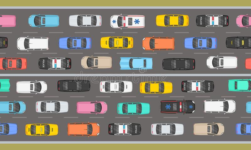 Top view of Traffic road jam. Top view of cars of different colours and shapes on grey background. Traffic Jam On Highway Top View vector illustration