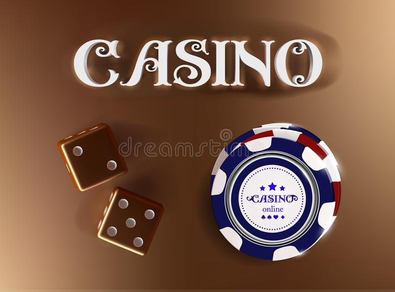 Top view of Casino sign poker chips, dice on golden background. Online casino wide banner with black and white chip game. On blue table and place for text royalty free illustration