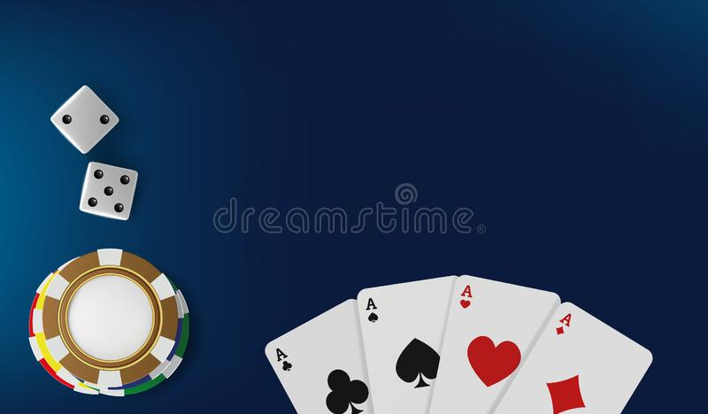 Top view of Casino table. Poker chips, dice and cards on blue background. Online Vegas casino banner with chips on blue. Game table and place for text. Gambling stock illustration