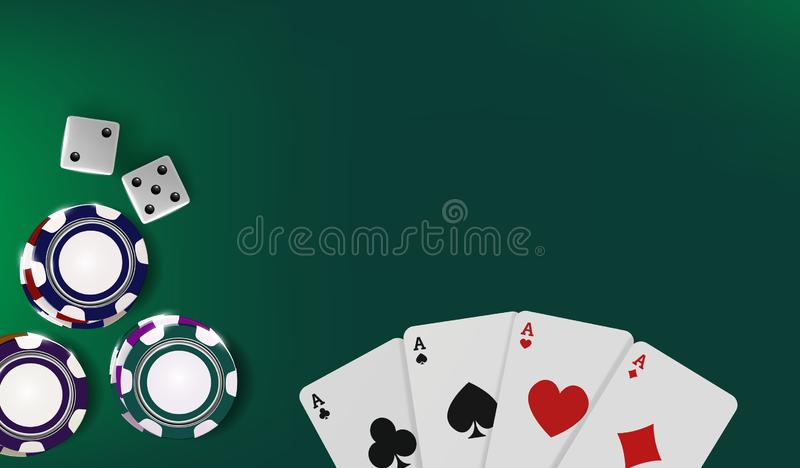 Top view of Casino table. Poker chips, dice and cards on green background. Online Vegas casino banner with chips on. Green game table and place for text stock illustration