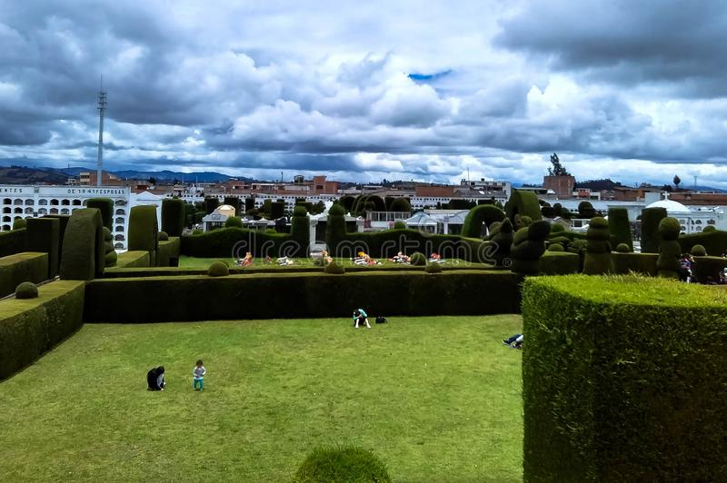 Top view of cemetery park with view of the sky royalty free stock image