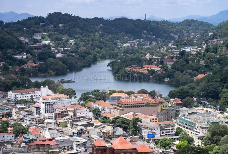 The top view of the center of Kandy city, Sri Lanka. The top view of the center of Kandy city. This city is traffic Jam. Kandy city aerial view from stock images