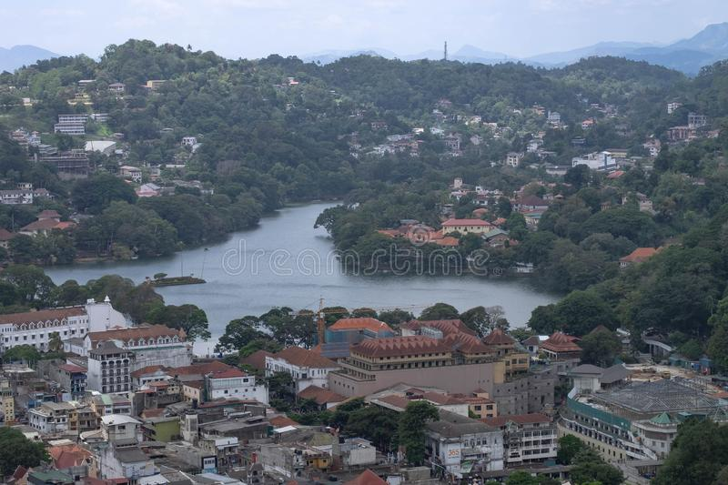 The top view of the center of Kandy city, Sri Lanka. The top view of the center of Kandy city. This city is traffic Jam. Kandy city aerial view from stock image