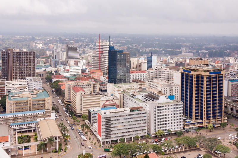 Top view on central business district of Nairobi from Kenyatta International Conference Centre helipad stock image