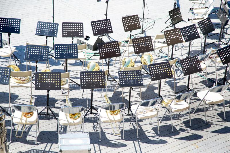Top view of the chairs music stands brass band instruments royalty free stock images