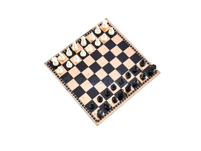 Top view of chessboard. Top view of chess on chessboard with white background royalty free stock images