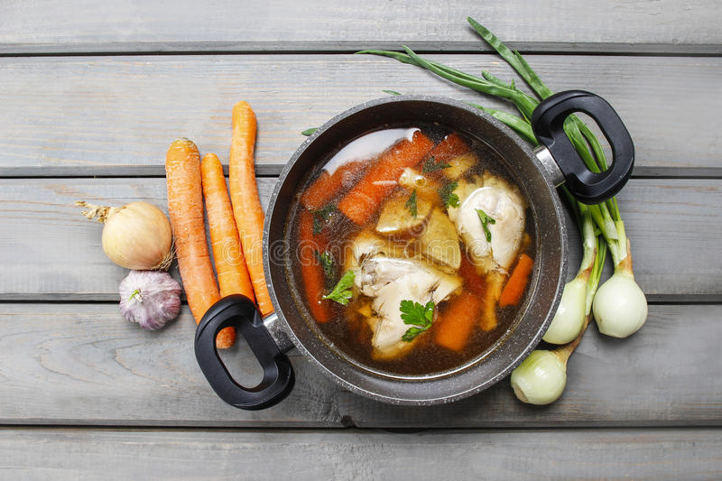 Top view of chicken soup stock photo