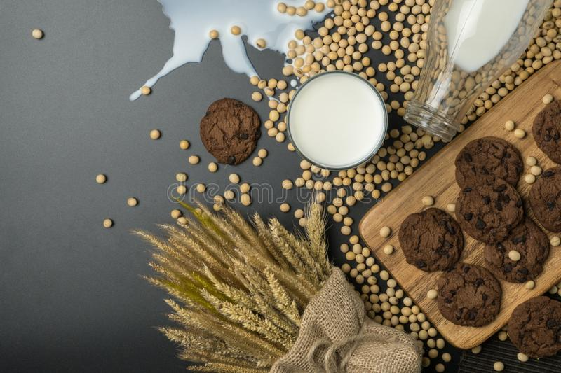 Top view of the chocolate chip cookies on the wooden tray stock photos