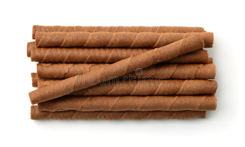 Top view of chocolate wafer rolls stock photography