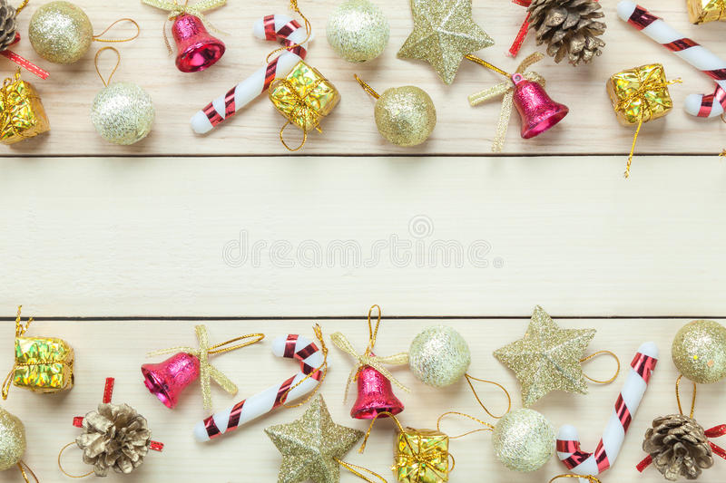 Top view Chrismas decoration and ornament on wooden table with c royalty free stock photography