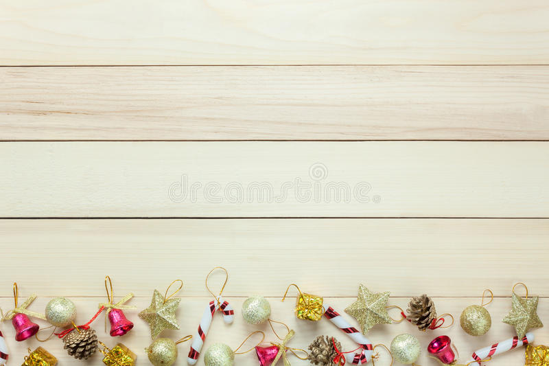 Top view Chrismas decoration and ornament on wooden table with c royalty free stock photos