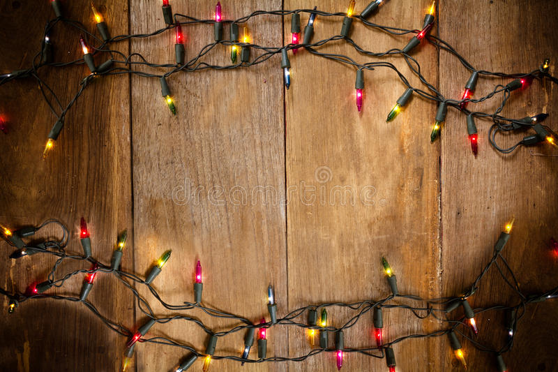 Download Top View, Christmas And New Year Lights On Old Wood Background Stock Photo - Image of rough, holiday: 60742706