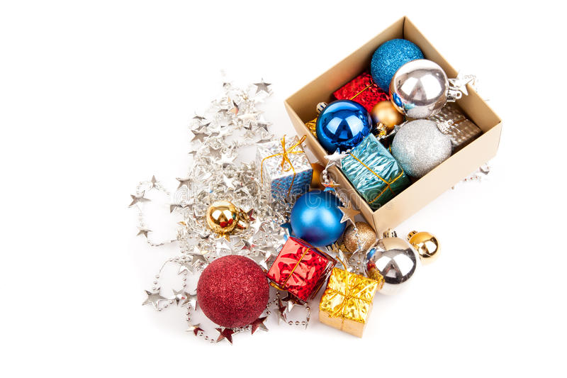 download top view of christmas tree bauble ornament in a box stock photo image - Christmas Tree In A Box