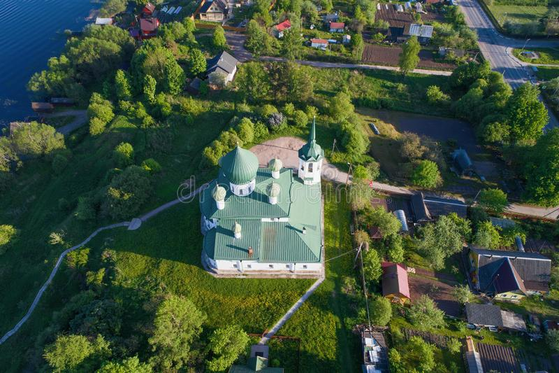 Christmas of John the Forerunner aerial photograph. Old Ladoga, Russia. The top view on church of Christmas of John the Forerunner in the sunny May afternoon royalty free stock images